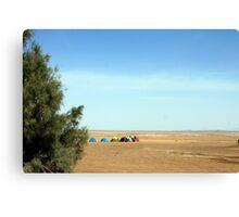 Colourful tents camping in desert  Canvas Print