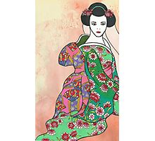 Sitting Geisha with Textured Background Photographic Print