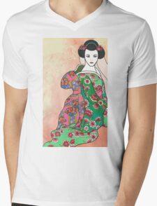 Sitting Geisha with Textured Background Mens V-Neck T-Shirt
