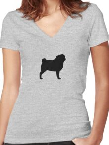 Pug Silhouette Women's Fitted V-Neck T-Shirt