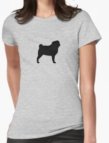 Pug Silhouette Womens Fitted T-Shirt