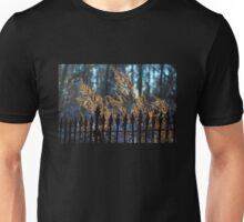 Golden Remnants of Summer in a Wrought Iron Fence Unisex T-Shirt