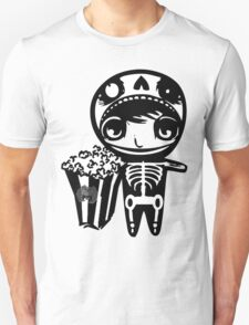 skeleton boy with popcorn by aidans club T-Shirt