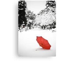 Umbrella in the Snow Canvas Print