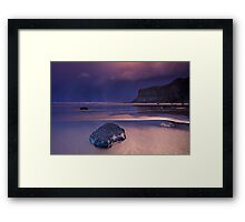 Passing snowstorm at Saltburn Framed Print