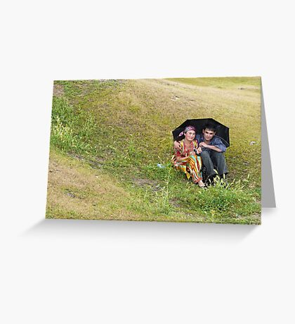 In love in the rain Greeting Card