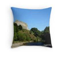 Richmond castle above the river swale Throw Pillow