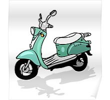 retro moped, vector transportation, moto Poster