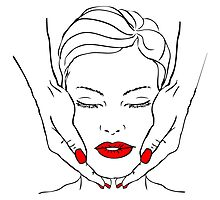 fake tattoo beautiful woman face with hands massage, spa. red lips, nails by iconsjewelry
