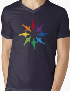 Color: Sea Lion Rainbow Pinwheel Mens V-Neck T-Shirt