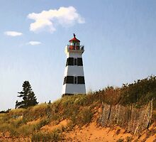 Looking Up from the Dunes at West Point Light by RC deWinter