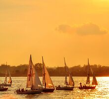 Sunset Sailing - Hudson River - NYC by Poete100
