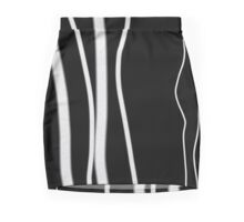 Black and white, foux wired, strips, modern  Mini Skirt