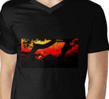 Orange Red Sunset LBNY 7360 Mens V-Neck T-Shirt
