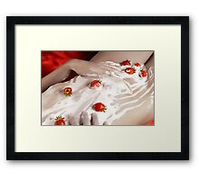 Cream and strawberries on Nude woman body Framed Print