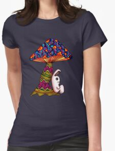 Rabbit by a Mushroom Womens Fitted T-Shirt