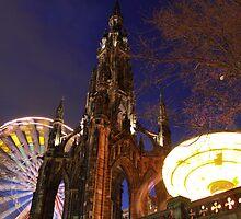 Edinburgh Scott Monument Winter Fair by Gary Winters
