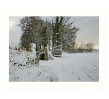 Snow Scene Yelverton, Dartmoor Art Print