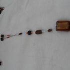 Flintstones With Class Necklace &amp; Earrings - Brown Stones by sylversorceress