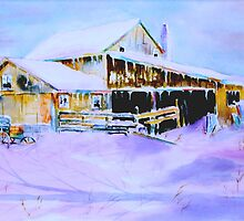 Lavender Blue - A Barn in Winter by henrytheartist