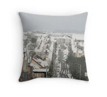 Christmas tree rooves in Plymouth Throw Pillow
