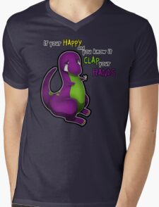 If Your Happy And You Know It Barney Mens V-Neck T-Shirt
