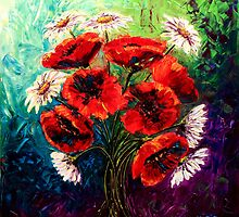 Daisies & Poppies by Abstract D'Oyley