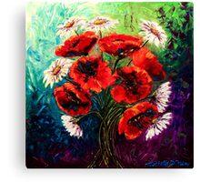 Daisies & Poppies Canvas Print