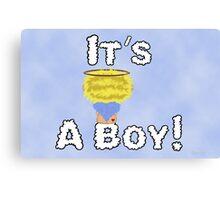 It's A Boy Angel Sitting On A Cloud Blonde Head Canvas Print