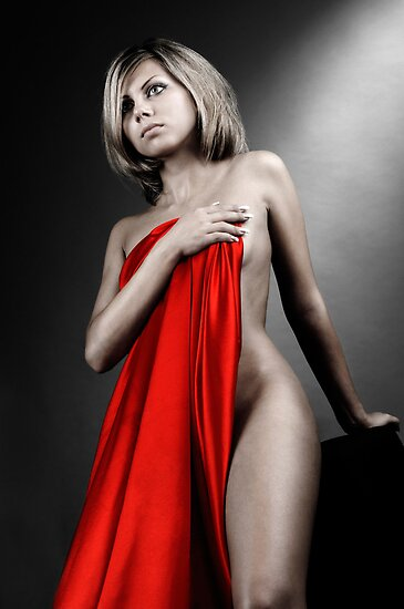 Beautiful naked woman covering with red fabric by ArtNudePhotos