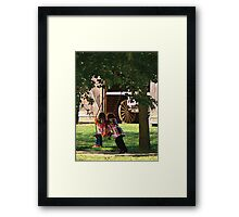 Two Little Girls Playing on Swing Framed Print