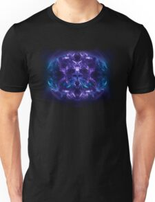 Fractal Flame Skull v2 (Blue/Purple) Unisex T-Shirt