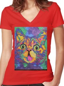 Famous Spectra- Lil Bub Women's Fitted V-Neck T-Shirt