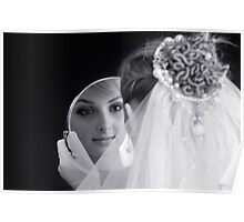 Beautiful young bride looking in the mirror Poster