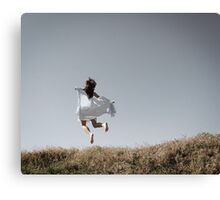 Girl Flying with Shawl Canvas Print
