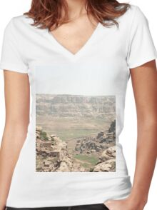 an awesome Yemen landscape Women's Fitted V-Neck T-Shirt