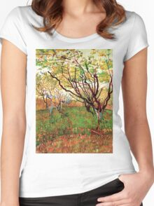 Vincent van Gogh, Orchard in Blossom Women's Fitted Scoop T-Shirt