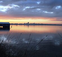 Crawley Boatshed by Sunrise by Andy Sinclair