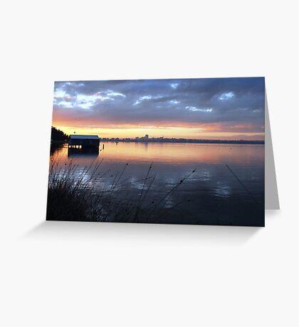 Crawley Boatshed by Sunrise Greeting Card