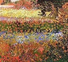 Flowering Garden. Vintage floral garden oil painting by Vincent van Gogh. by naturematters