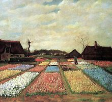 Flowering bulb field by Vincent van Gogh. vintage floral landscape oil painting. by naturematters