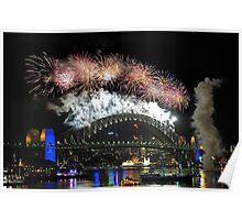 Sydney New Year Eve 2009 Fireworks - Burst of colours Poster