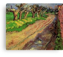Pollard Willows by Vincent van Gogh. Rural, country road landscape oil painting. Canvas Print
