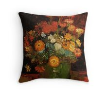 Vase with Zinnias by Van Gogh. Vintage floral oil painting fine art. Throw Pillow