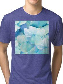Zen, hydrangea flowers aqua blue floral pattern Tri-blend T-Shirt