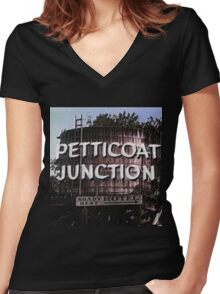 Petticoat Junction water tower Women's Fitted V-Neck T-Shirt