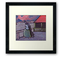 Anxious times fisherwives waiting Framed Print