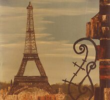 Eiffel Tower France -acrylics on canvas by Gordon Pegler