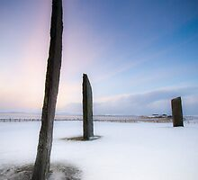Standing Stones of Stenness - Winter Sunset in the Snow by Jason Roseweir