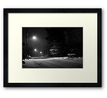 Snowy Night at Home Framed Print